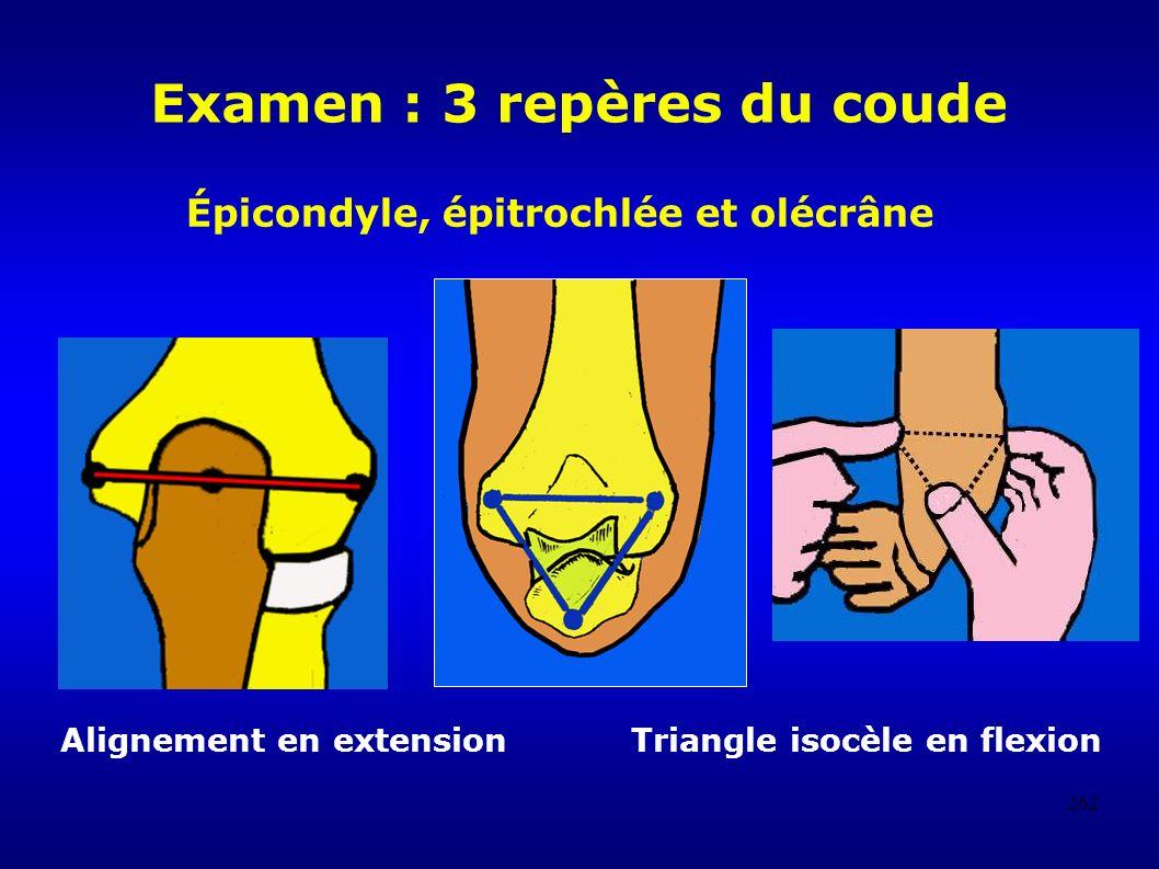 262 Examen : 3 repères du coude Alignement en extension Triangle isocèle en flexion Épicondyle, épitrochlée et olécrâne