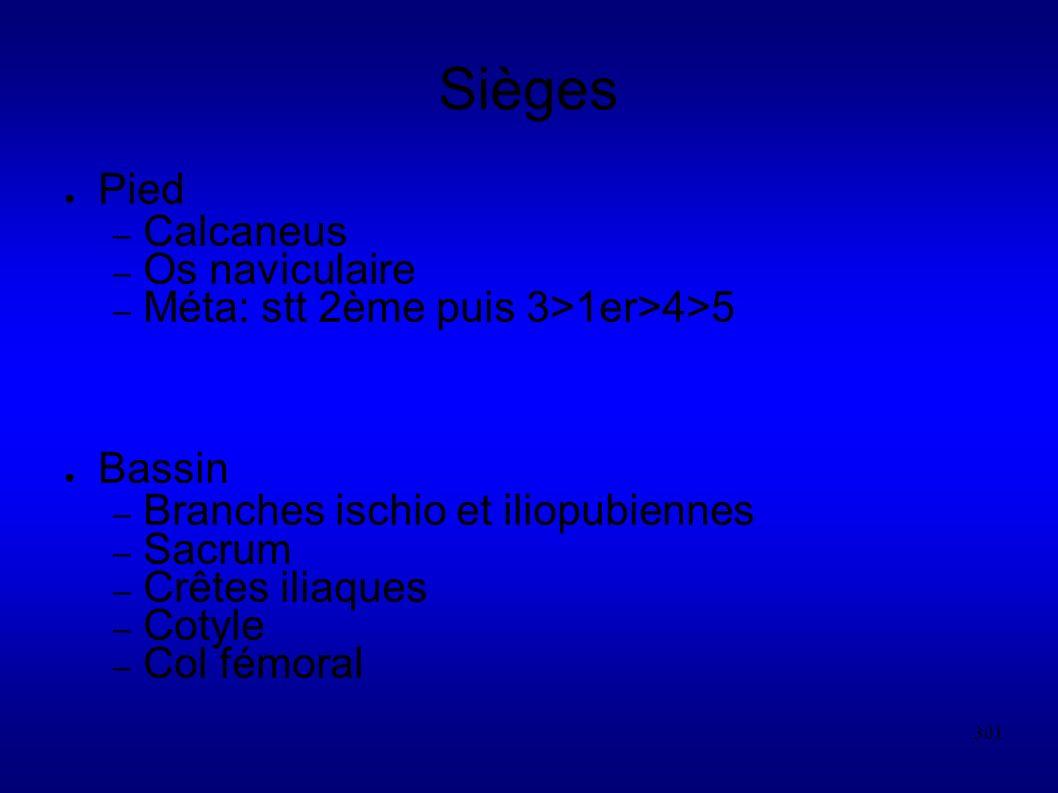 301 Sièges Pied – Calcaneus – Os naviculaire – Méta: stt 2ème puis 3>1er>4>5 Bassin – Branches ischio et iliopubiennes – Sacrum – Crêtes iliaques – Cotyle – Col fémoral