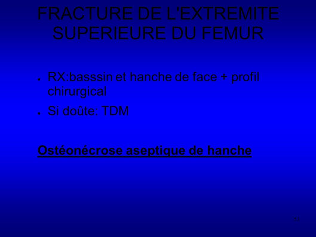 53 FRACTURE DE L EXTREMITE SUPERIEURE DU FEMUR RX:basssin et hanche de face + profil chirurgical Si doûte: TDM Ostéonécrose aseptique de hanche