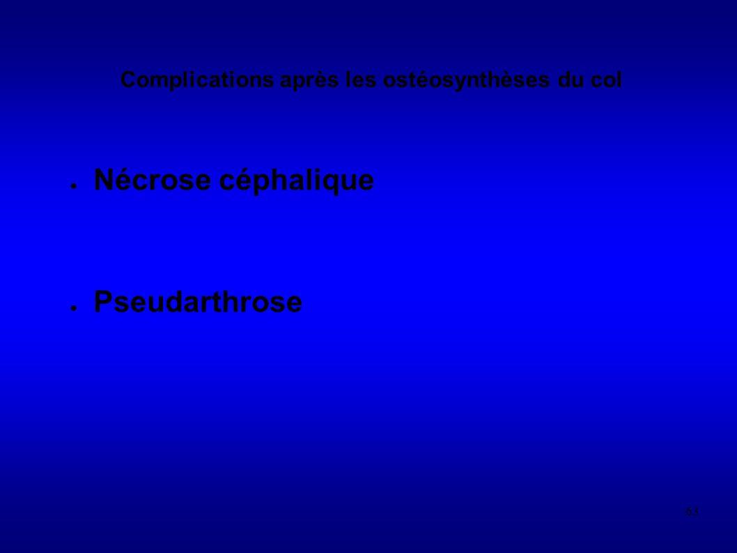 63 Complications après les ostéosynthèses du col Nécrose céphalique Pseudarthrose