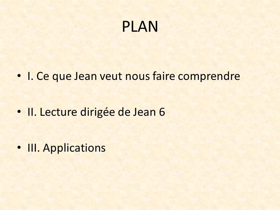 PLAN I. Ce que Jean veut nous faire comprendre II. Lecture dirigée de Jean 6 III. Applications