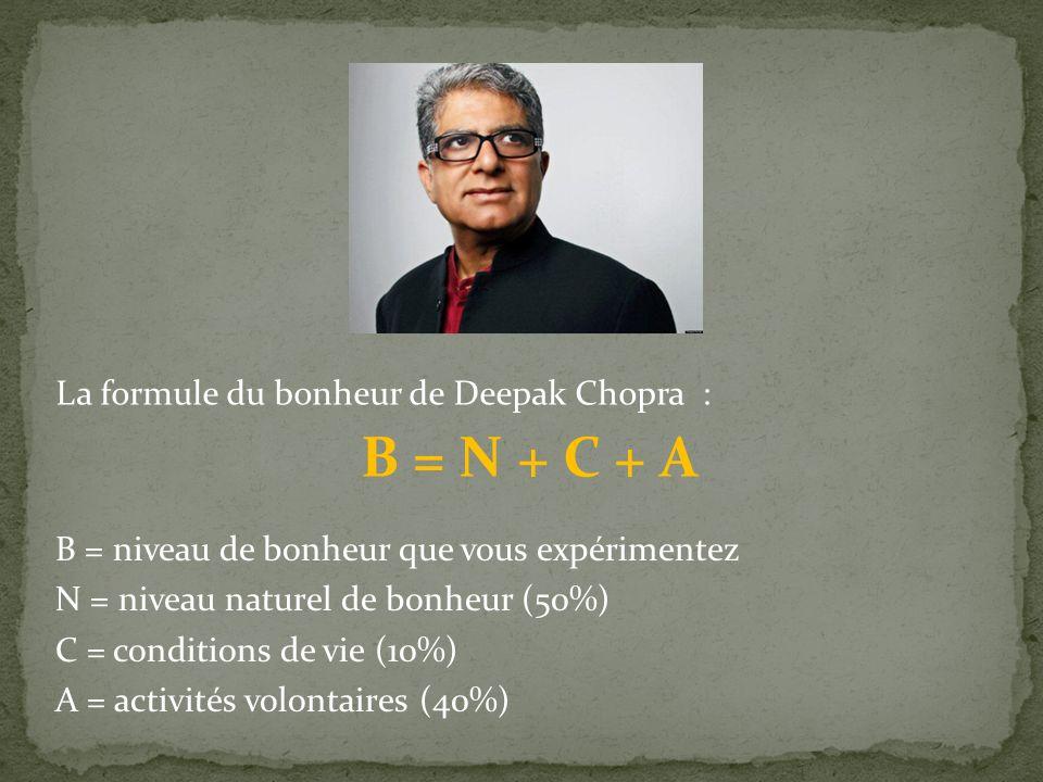 La formule du bonheur de Deepak Chopra : B = N + C + A B = niveau de bonheur que vous expérimentez N = niveau naturel de bonheur (50%) C = conditions