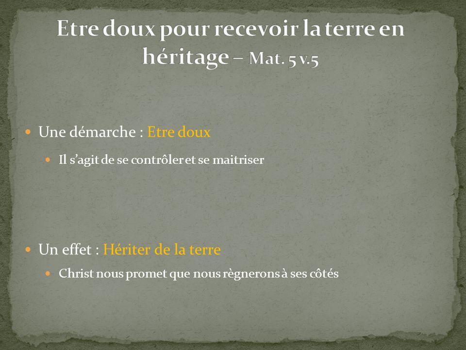 Une démarche : Etre doux Un effet : Hériter de la terre Il sagit de se contrôler et se maitriser Christ nous promet que nous règnerons à ses côtés