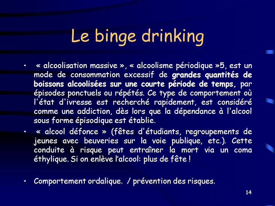 Le binge drinking « alcoolisation massive », « alcoolisme périodique »5, est un mode de consommation excessif de grandes quantités de boissons alcooli