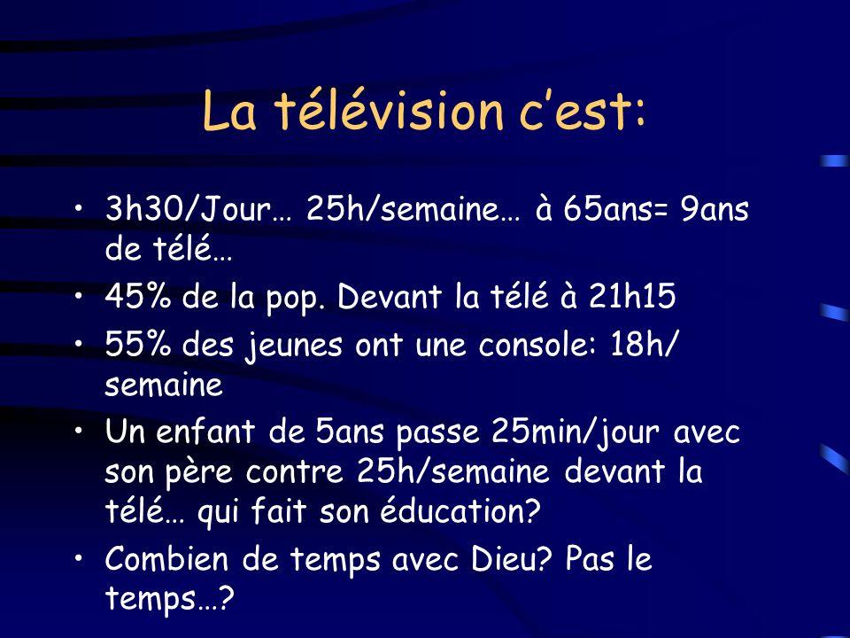 La télévision cest: 3h30/Jour… 25h/semaine… à 65ans= 9ans de télé… 45% de la pop. Devant la télé à 21h15 55% des jeunes ont une console: 18h/ semaine