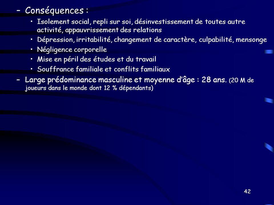 –Conséquences : Isolement social, repli sur soi, désinvestissement de toutes autre activité, appauvrissement des relations Dépression, irritabilité, c