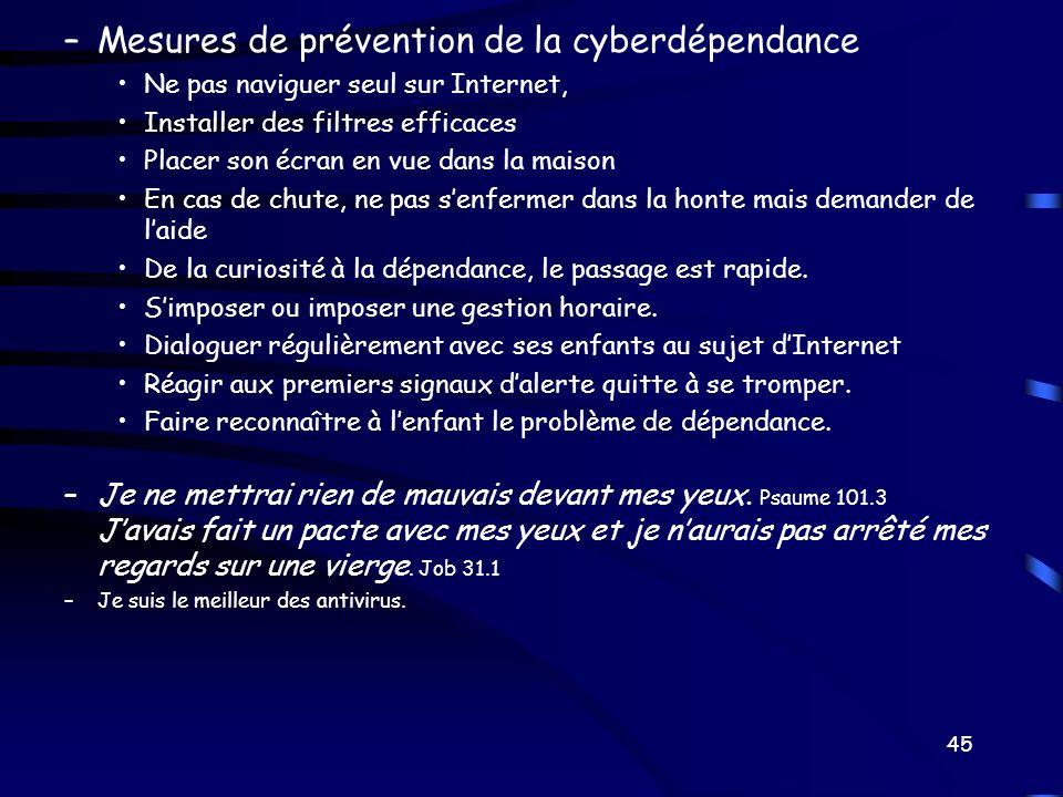 –Mesures de prévention de la cyberdépendance Ne pas naviguer seul sur Internet, Installer des filtres efficaces Placer son écran en vue dans la maison