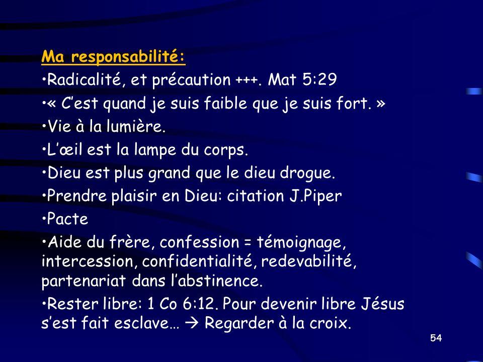 Ma responsabilité: Radicalité, et précaution +++. Mat 5:29 « Cest quand je suis faible que je suis fort. » Vie à la lumière. Lœil est la lampe du corp