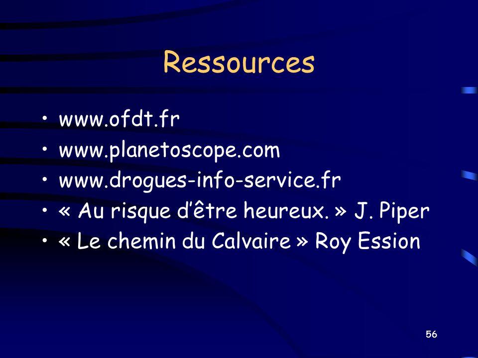 Ressources www.ofdt.fr www.planetoscope.com www.drogues-info-service.fr « Au risque dêtre heureux. » J. Piper « Le chemin du Calvaire » Roy Ession 56