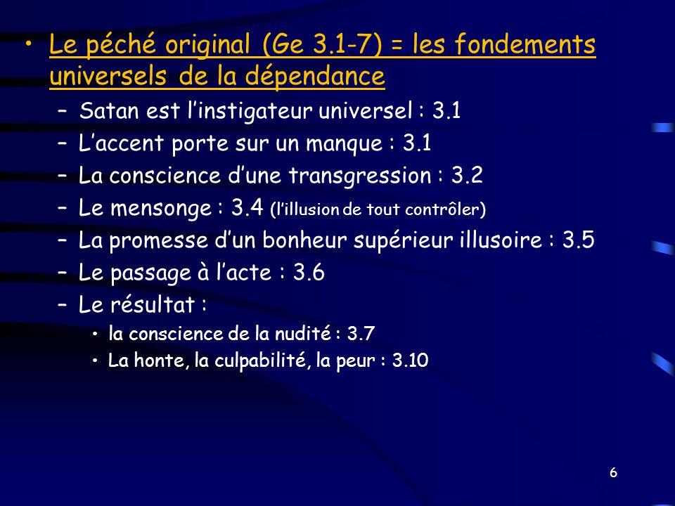 Le péché original (Ge 3.1-7) = les fondements universels de la dépendance –Satan est linstigateur universel : 3.1 –Laccent porte sur un manque : 3.1 –