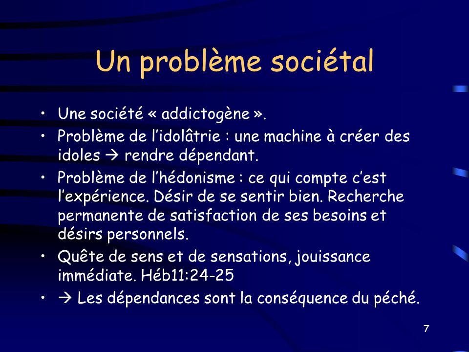 Un problème sociétal Une société « addictogène ». Problème de lidolâtrie : une machine à créer des idoles rendre dépendant. Problème de lhédonisme : c