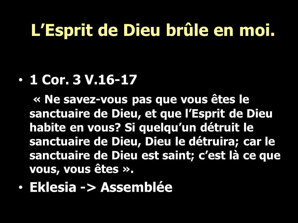 LEsprit de Dieu brûle en moi. 1 Cor. 3 V.16-17 « Ne savez-vous pas que vous êtes le sanctuaire de Dieu, et que lEsprit de Dieu habite en vous? Si quel