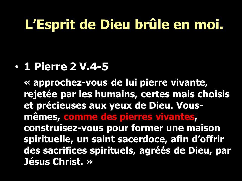 LEsprit de Dieu brûle en moi. 1 Pierre 2 V.4-5 « approchez-vous de lui pierre vivante, rejetée par les humains, certes mais choisis et précieuses aux