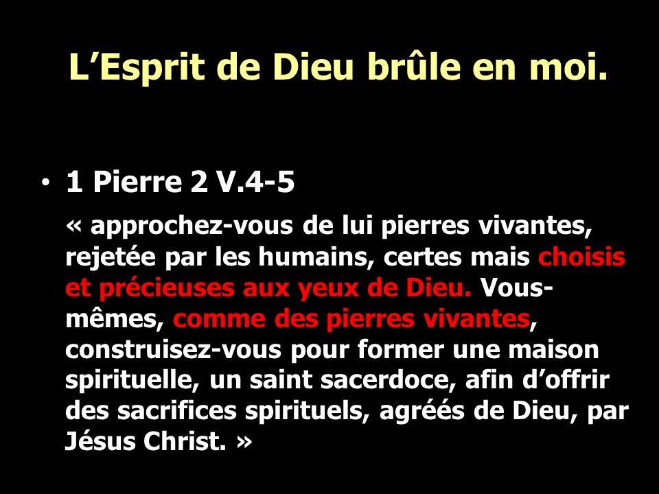 LEsprit de Dieu brûle en moi. 1 Pierre 2 V.4-5 « approchez-vous de lui pierres vivantes, rejetée par les humains, certes mais choisis et précieuses au
