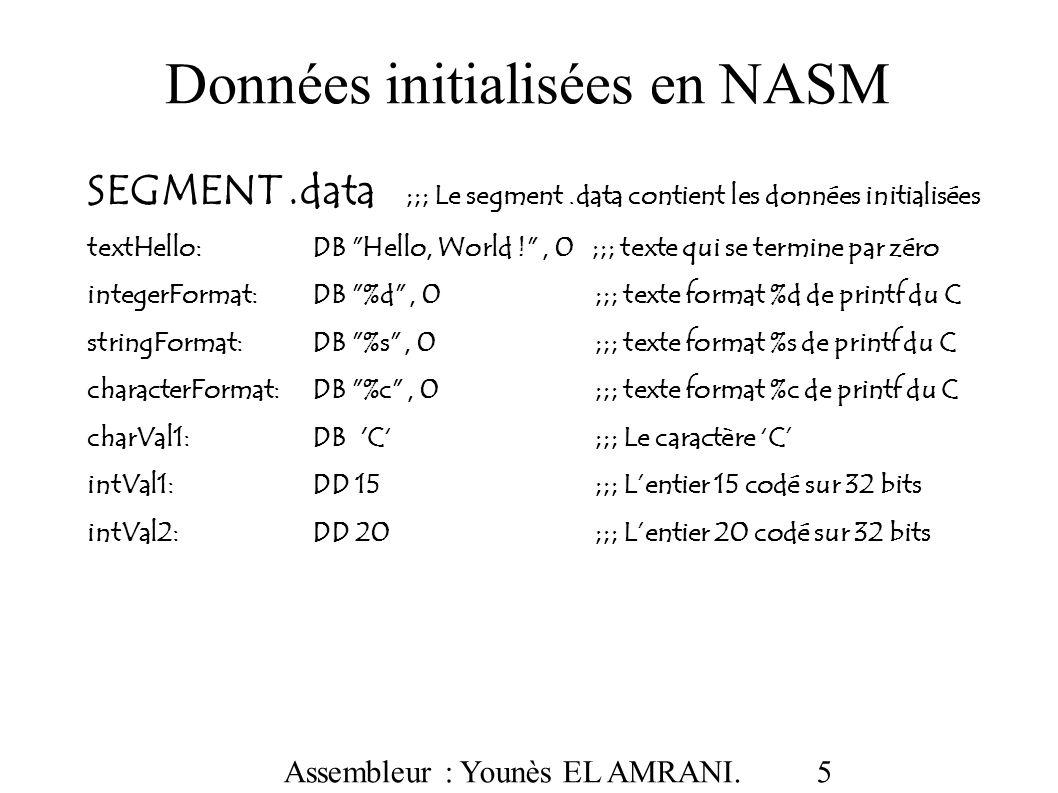 Assembleur : Younès EL AMRANI.16 LE SEGMENT.data : vue binaire !.