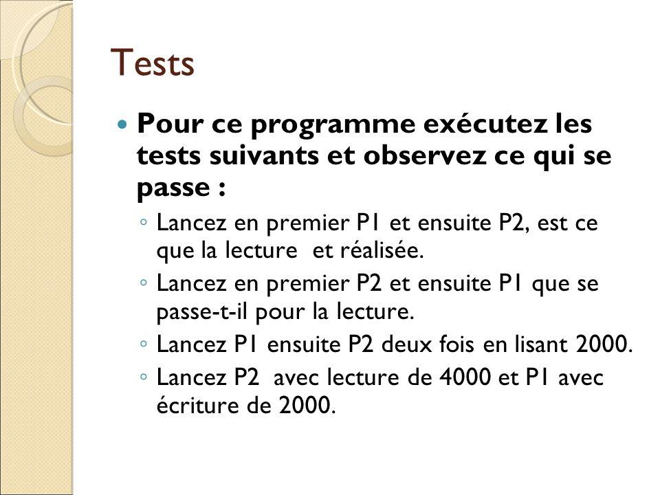 Tests Pour ce programme exécutez les tests suivants et observez ce qui se passe : Lancez en premier P1 et ensuite P2, est ce que la lecture et réalisé
