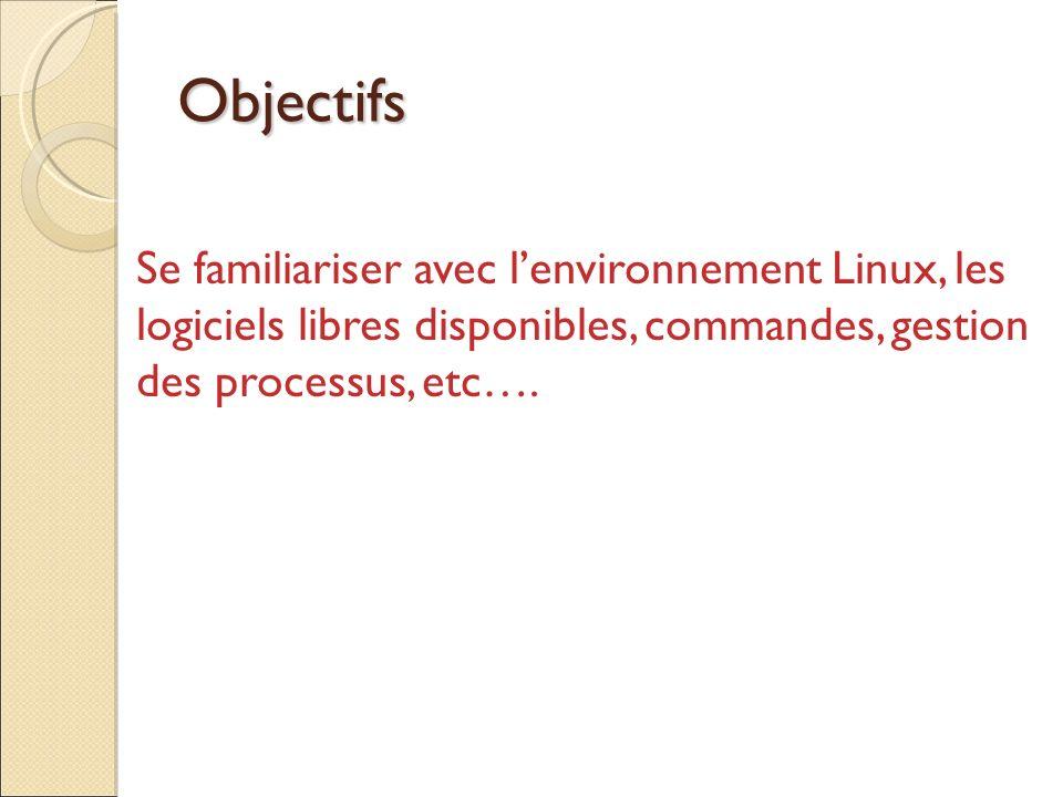 Objectifs Se familiariser avec lenvironnement Linux, les logiciels libres disponibles, commandes, gestion des processus, etc….