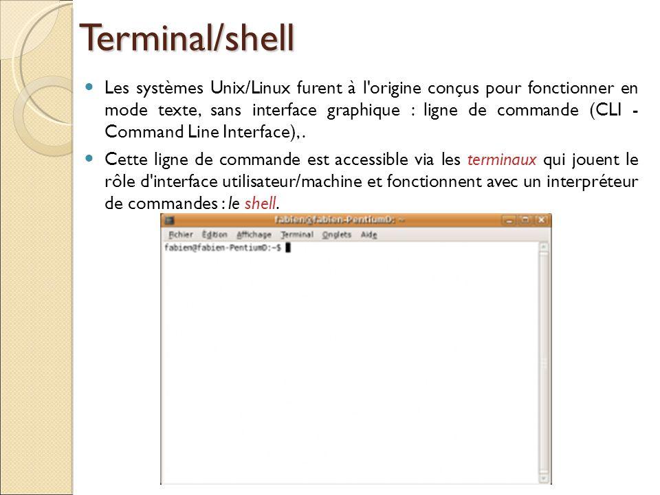 Terminal/shell Les systèmes Unix/Linux furent à l'origine conçus pour fonctionner en mode texte, sans interface graphique : ligne de commande (CLI - C