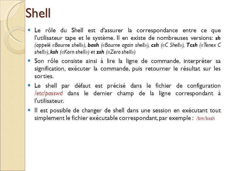 Shell Le rôle du Shell est d'assurer la correspondance entre ce que l'utilisateur tape et le système. Il en existe de nombreuses versions: sh (appelé