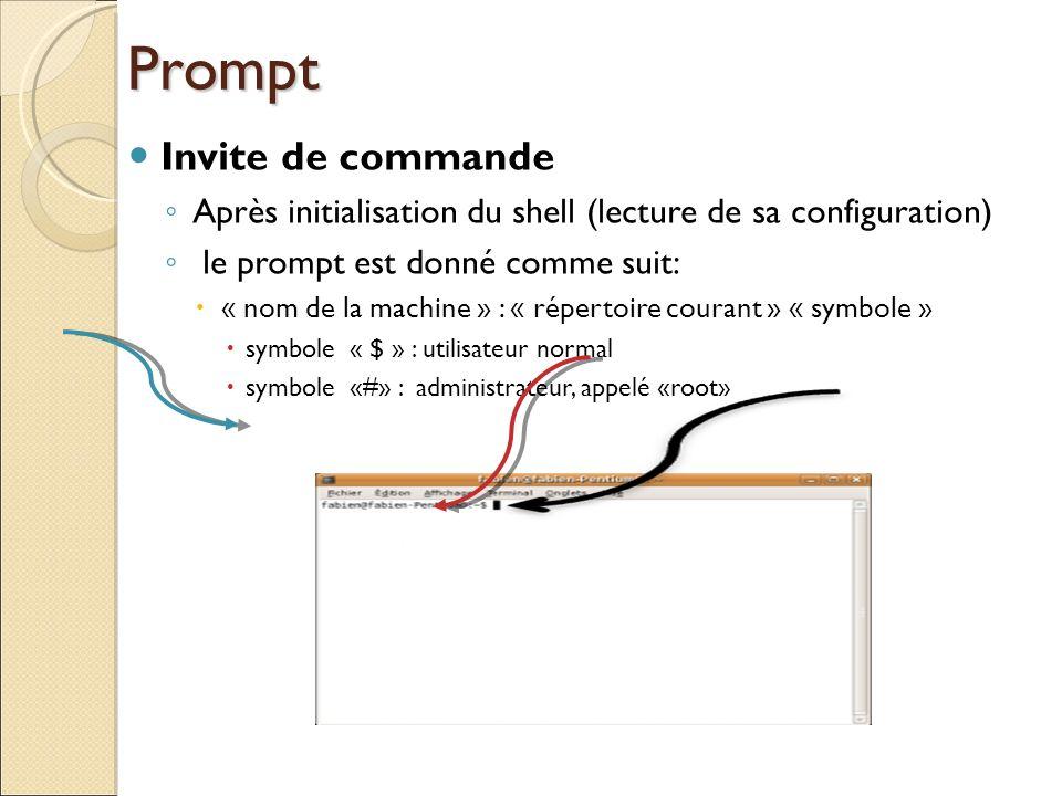 Prompt Invite de commande Après initialisation du shell (lecture de sa configuration) le prompt est donné comme suit: « nom de la machine » : « répert