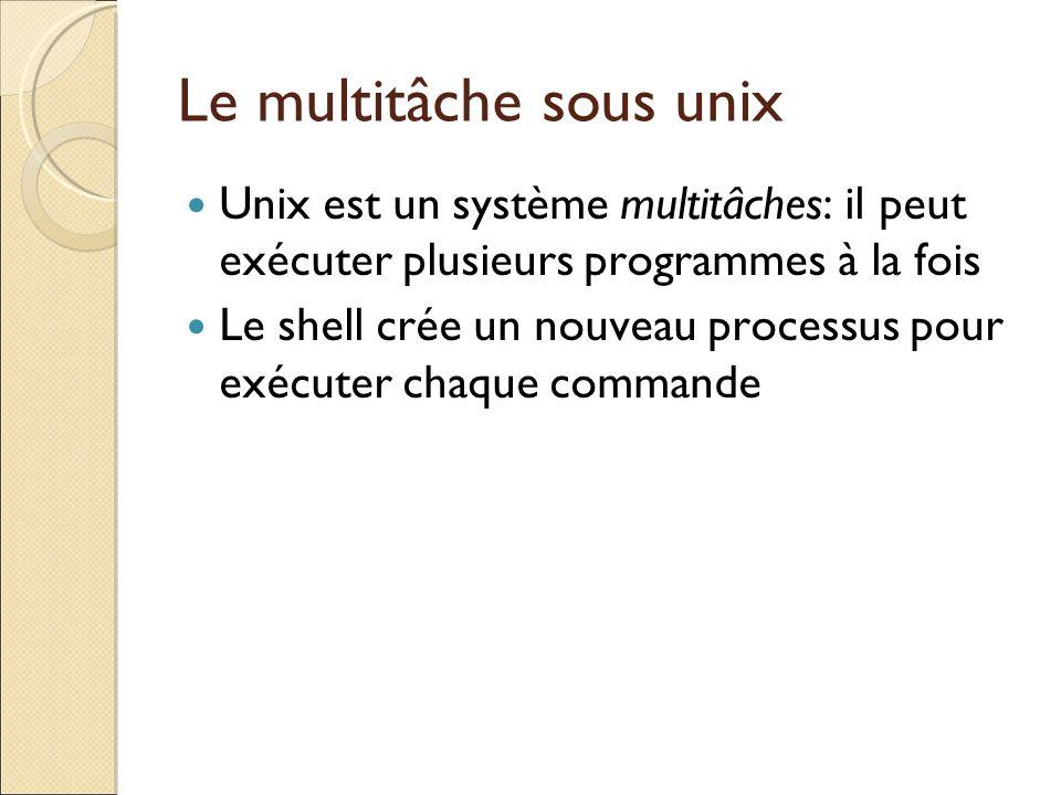 Le multitâche sous unix Unix est un système multitâches: il peut exécuter plusieurs programmes à la fois Le shell crée un nouveau processus pour exécu