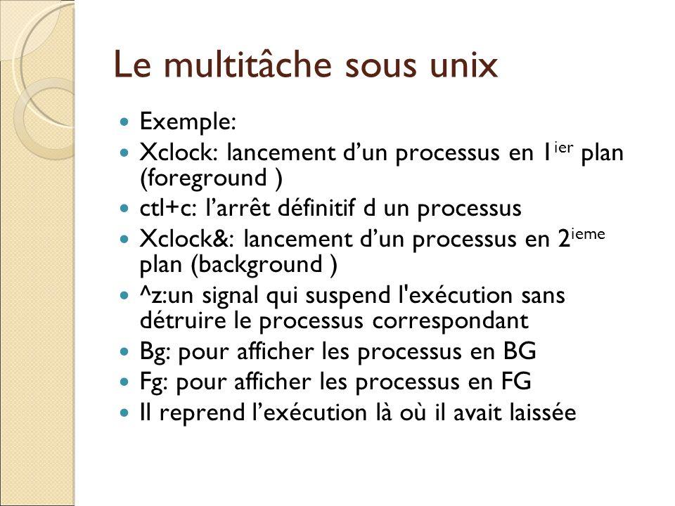 Exemple: Xclock: lancement dun processus en 1 ier plan (foreground ) ctl+c: larrêt définitif d un processus Xclock&: lancement dun processus en 2 ieme