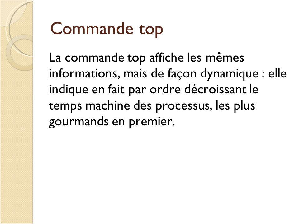 Commande top La commande top affiche les mêmes informations, mais de façon dynamique : elle indique en fait par ordre décroissant le temps machine des