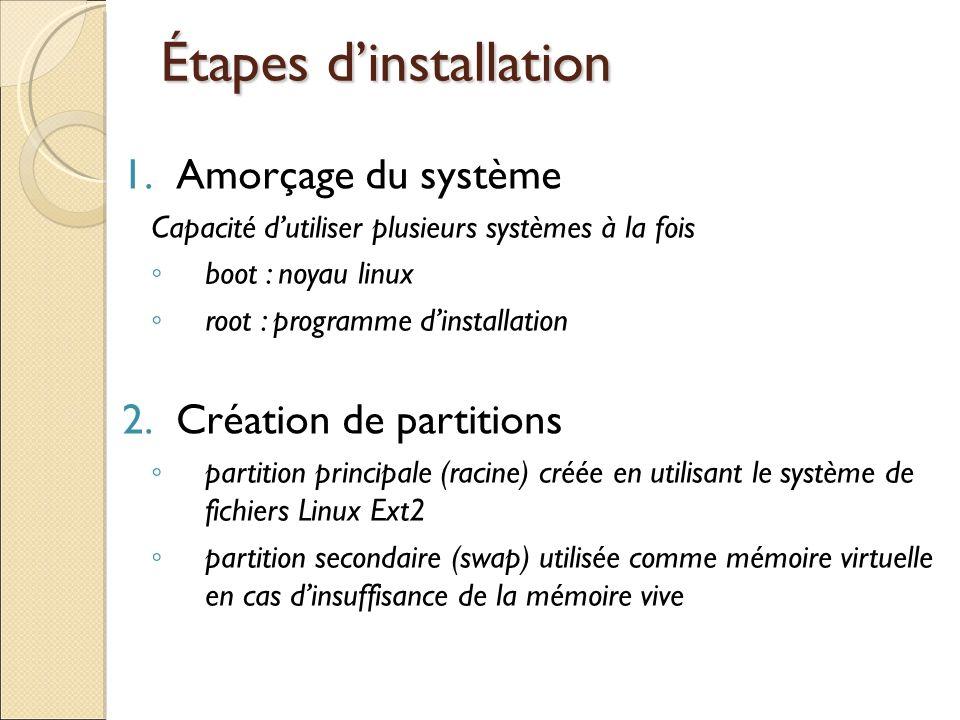 Étapes dinstallation 1.Amorçage du système Capacité dutiliser plusieurs systèmes à la fois boot : noyau linux root : programme dinstallation 2.Créatio