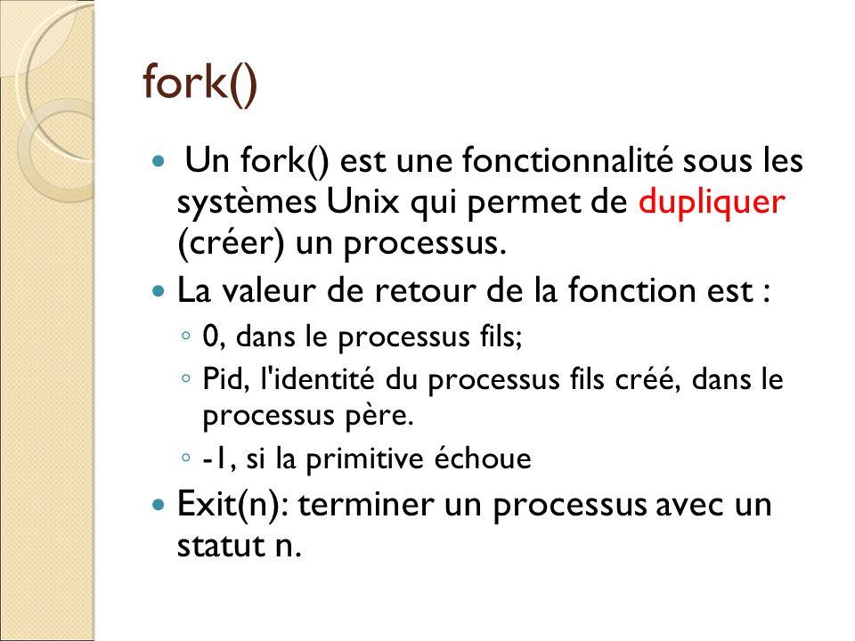 fork() Un fork() est une fonctionnalité sous les systèmes Unix qui permet de dupliquer (créer) un processus. La valeur de retour de la fonction est :
