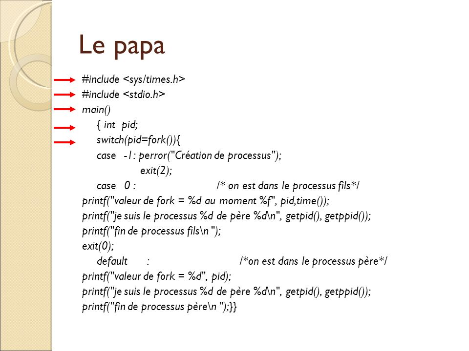 Le papa #include main() { int pid; switch(pid=fork()){ case-1: perror(