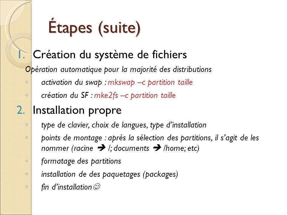 Étapes (suite) Étapes (suite) 1.Création du système de fichiers Opération automatique pour la majorité des distributions activation du swap : mkswap –
