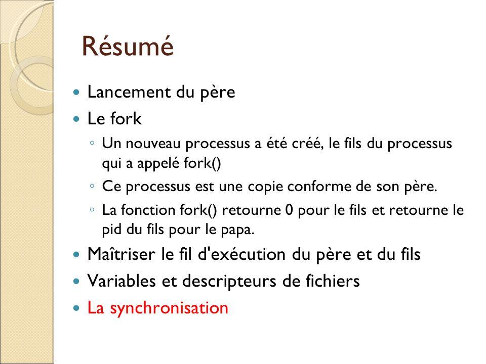 Résumé Lancement du père Le fork Un nouveau processus a été créé, le fils du processus qui a appelé fork() Ce processus est une copie conforme de son