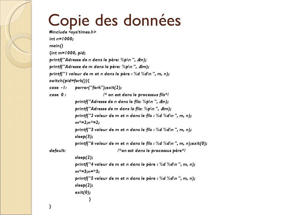 Copie des données #include int n=1000; main() {int m=1000, pid; printf(