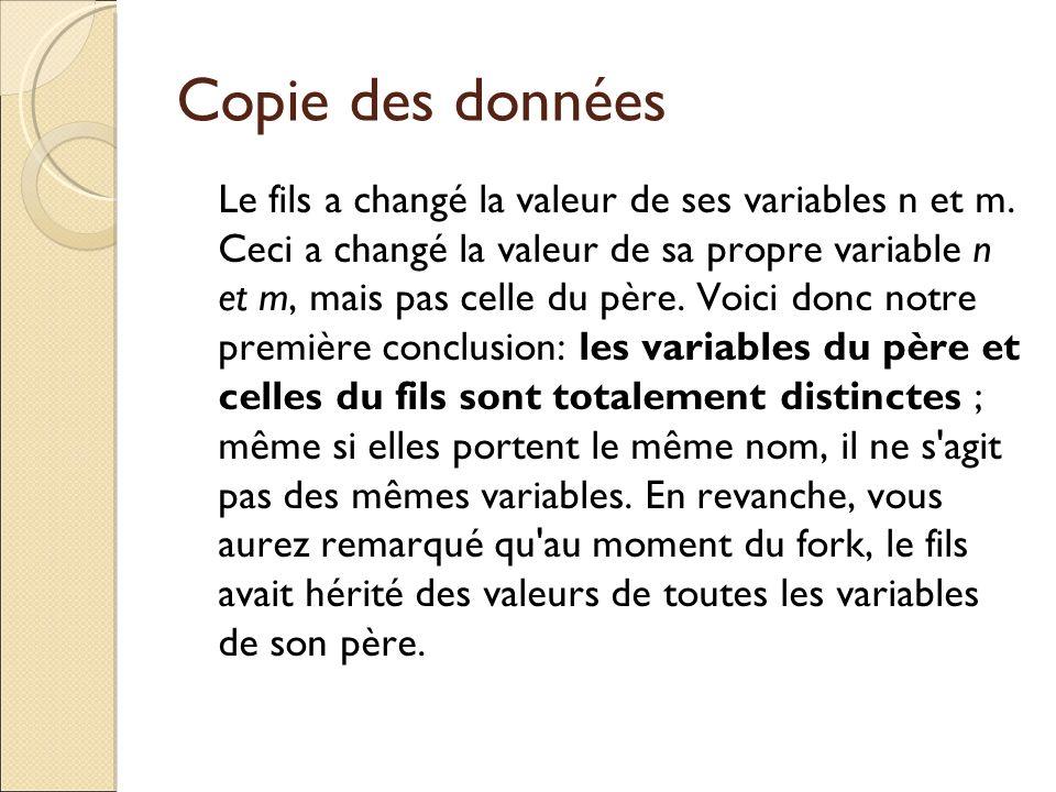 Copie des données Le fils a changé la valeur de ses variables n et m. Ceci a changé la valeur de sa propre variable n et m, mais pas celle du père. Vo