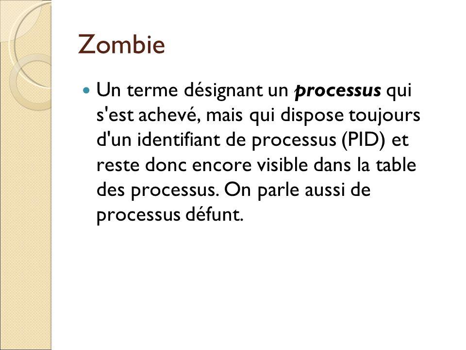 Zombie Un terme désignant un processus qui s'est achevé, mais qui dispose toujours d'un identifiant de processus (PID) et reste donc encore visible da