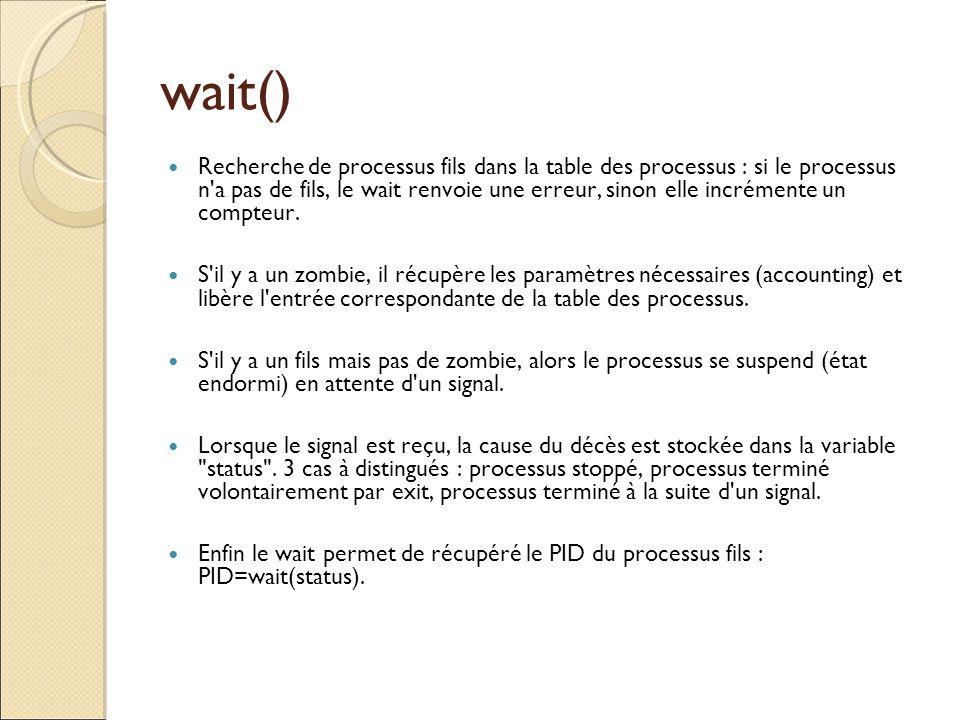 wait() Recherche de processus fils dans la table des processus : si le processus n'a pas de fils, le wait renvoie une erreur, sinon elle incrémente un