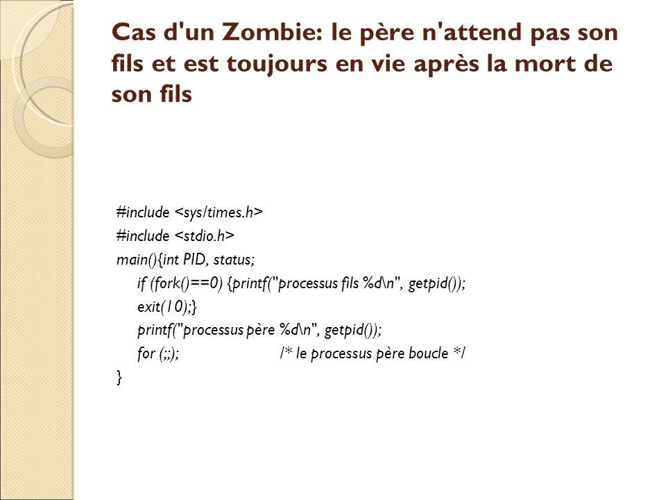 Cas d'un Zombie: le père n'attend pas son fils et est toujours en vie après la mort de son fils #include main(){int PID, status; if (fork()==0) {print
