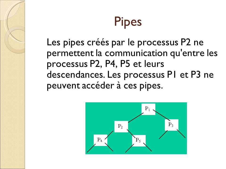 Pipes Les pipes créés par le processus P2 ne permettent la communication qu'entre les processus P2, P4, P5 et leurs descendances. Les processus P1 et