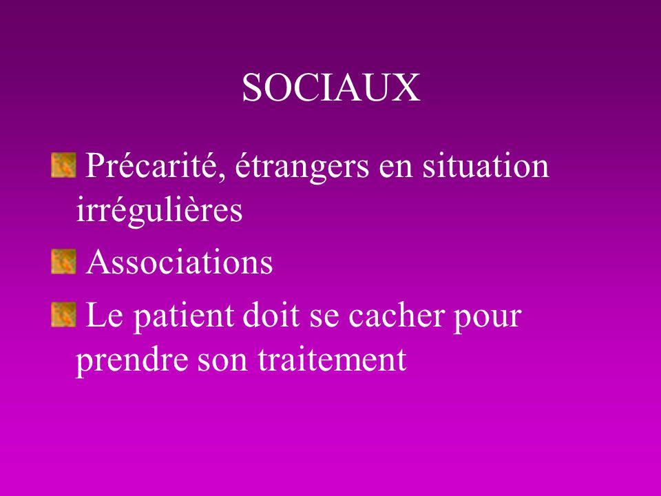 SOCIAUX Précarité, étrangers en situation irrégulières Associations Le patient doit se cacher pour prendre son traitement