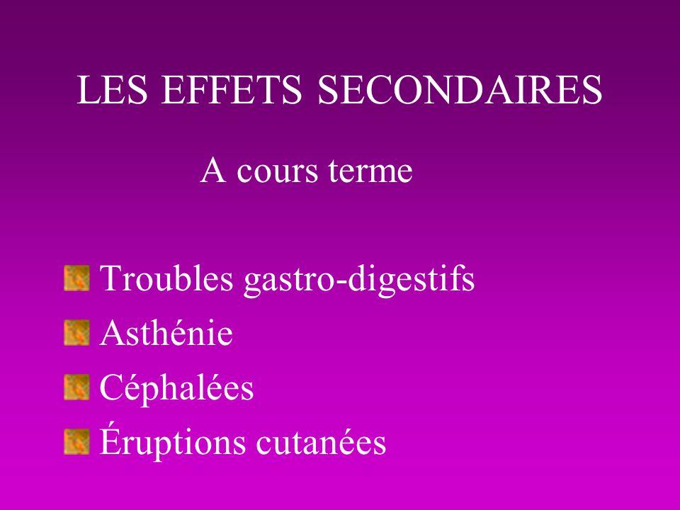 LES EFFETS SECONDAIRES A cours terme Troubles gastro-digestifs Asthénie Céphalées Éruptions cutanées