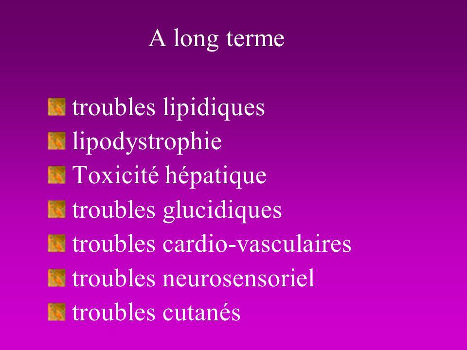 A long terme troubles lipidiques lipodystrophie Toxicité hépatique troubles glucidiques troubles cardio-vasculaires troubles neurosensoriel troubles c