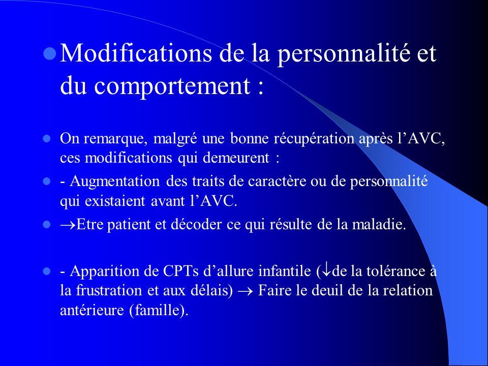 Modifications de la personnalité et du comportement : On remarque, malgré une bonne récupération après lAVC, ces modifications qui demeurent : - Augme
