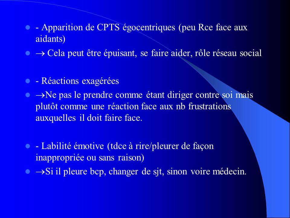 - Apparition de CPTS égocentriques (peu Rce face aux aidants) Cela peut être épuisant, se faire aider, rôle réseau social - Réactions exagérées Ne pas