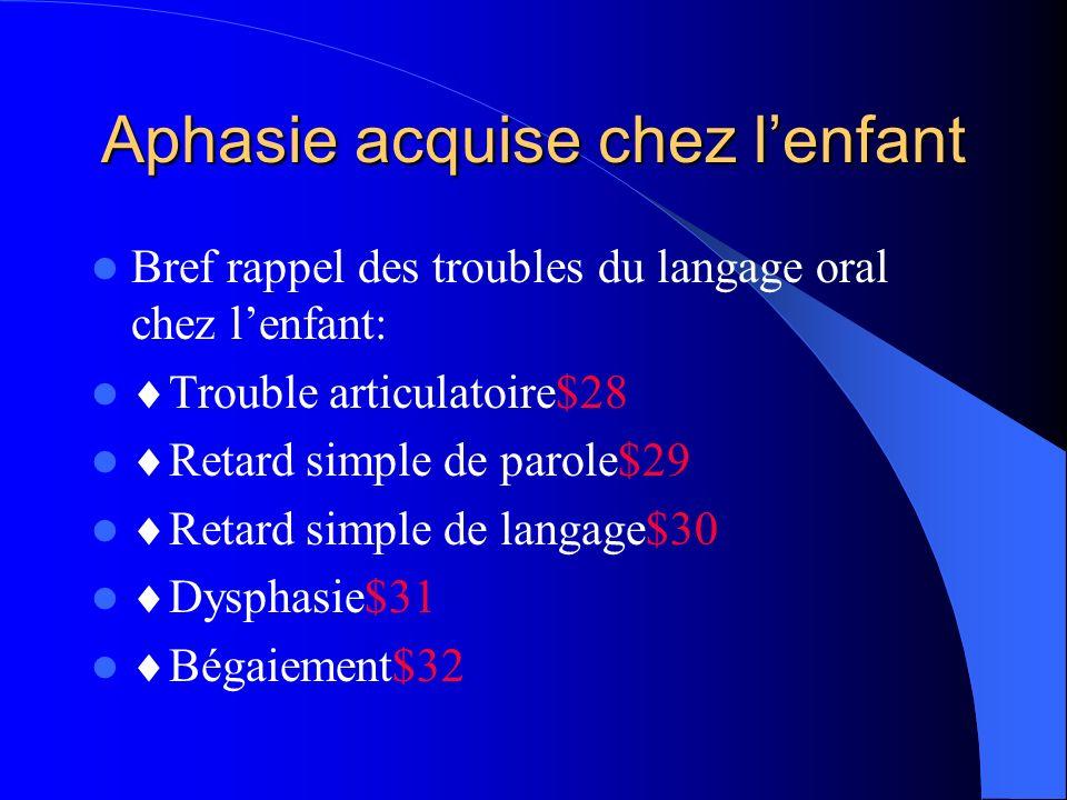Aphasie acquise chez lenfant Bref rappel des troubles du langage oral chez lenfant: Trouble articulatoire$28 Retard simple de parole$29 Retard simple