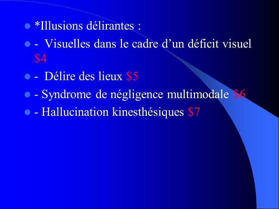 *Illusions délirantes : - Visuelles dans le cadre dun déficit visuel $4 - Délire des lieux $5 - Syndrome de négligence multimodale $6 - Hallucination