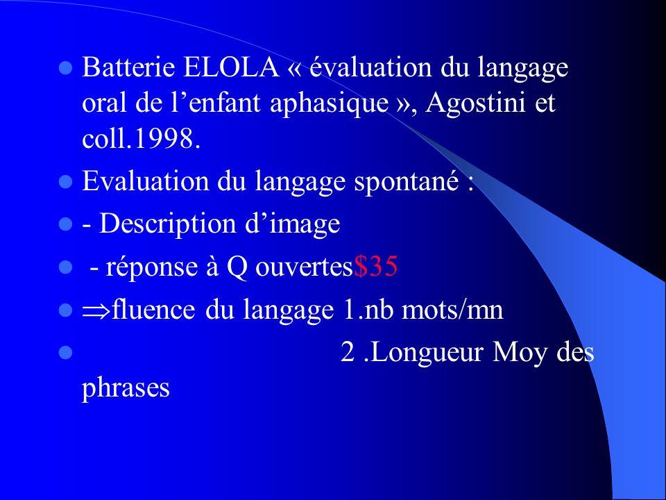 Batterie ELOLA « évaluation du langage oral de lenfant aphasique », Agostini et coll.1998. Evaluation du langage spontané : - Description dimage - rép