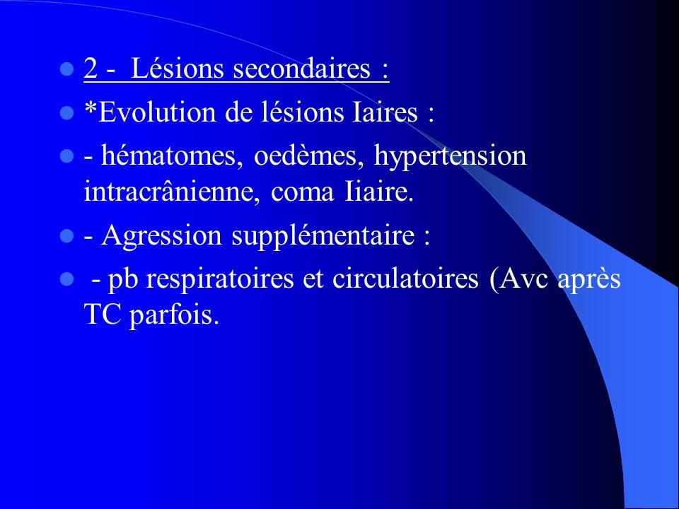 2 - Lésions secondaires : *Evolution de lésions Iaires : - hématomes, oedèmes, hypertension intracrânienne, coma Iiaire. - Agression supplémentaire :