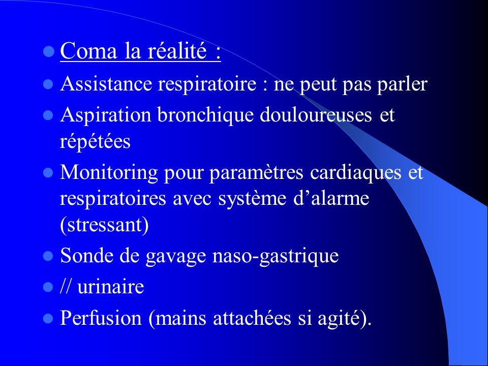 Coma la réalité : Assistance respiratoire : ne peut pas parler Aspiration bronchique douloureuses et répétées Monitoring pour paramètres cardiaques et
