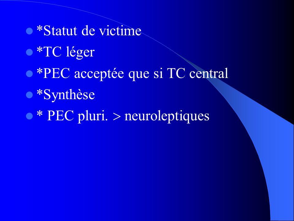 *Statut de victime *TC léger *PEC acceptée que si TC central *Synthèse * PEC pluri. neuroleptiques