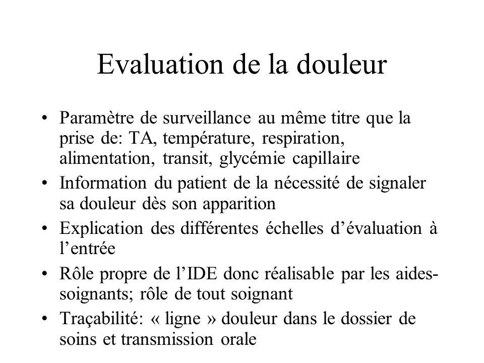 Evaluation de la douleur Paramètre de surveillance au même titre que la prise de: TA, température, respiration, alimentation, transit, glycémie capill